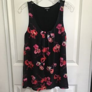 Express sleeveless black floral top